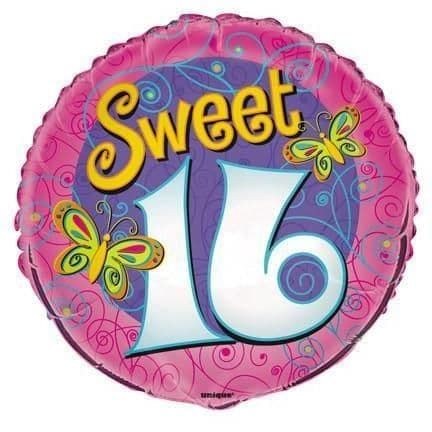 "Age 16 Sweet 16 with Butterflies 18"" Foil Balloon"